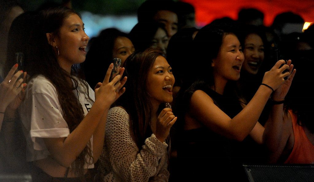 . Young girls scream as Joseph Vincent (not pictured) performs during the 626 Night Market at Santa Anita Park in Arcadia, Calif., on Saturday, Aug. 16, 2014.  (Photo by Keith Birmingham/ Pasadena Star-News)