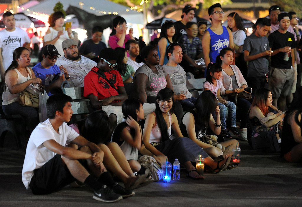 . Hundreds listen as Joseph Vincent (not pictured) performs during the 626 Night Market at Santa Anita Park in Arcadia, Calif., on Saturday, Aug. 16, 2014.  (Photo by Keith Birmingham/ Pasadena Star-News)