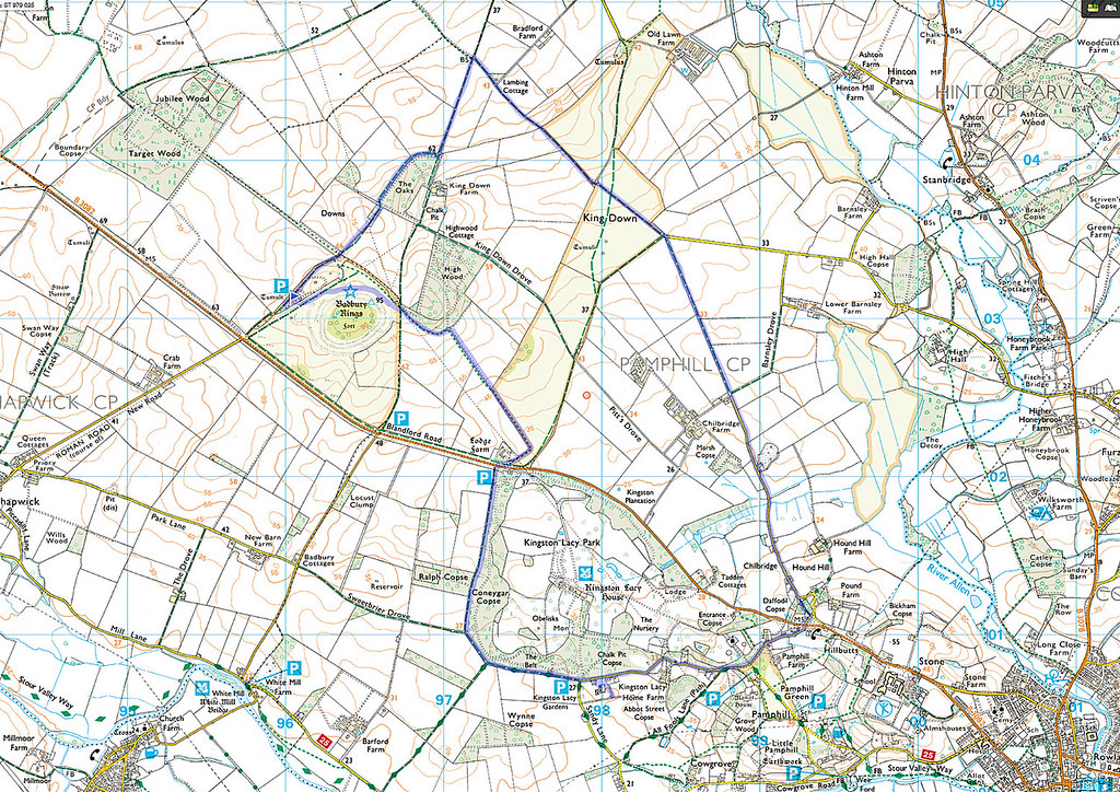 The actual route as walked is shown in blue and we went clockwise from the flag in the car park.