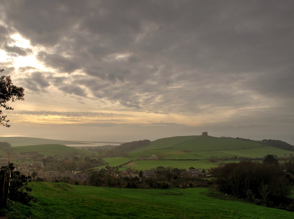 The view back from Jubilee Coppice, showing St Catherine's Chapel on Chapel Hill.<br /> The enclosed body of water to the left is The Fleet separated from the sea by Chesil Beach.