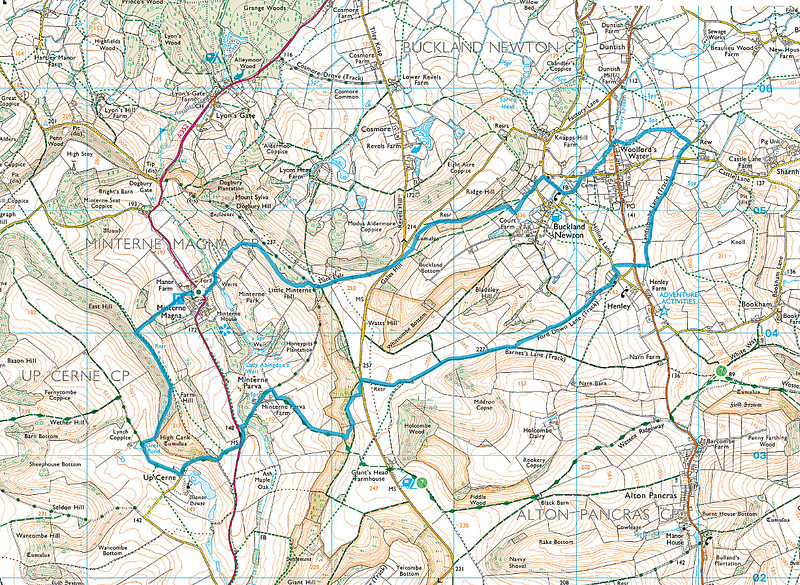 As usual the route actually walked is shown in blue from the car park in Minterne Magna.   We walked in a clockwise direction