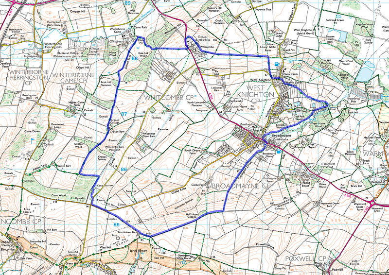 As usual the route actually walked is shown in blue starting at the small blue triangular flag in Osmington Drove, Broadmayne and was walked clockwise.