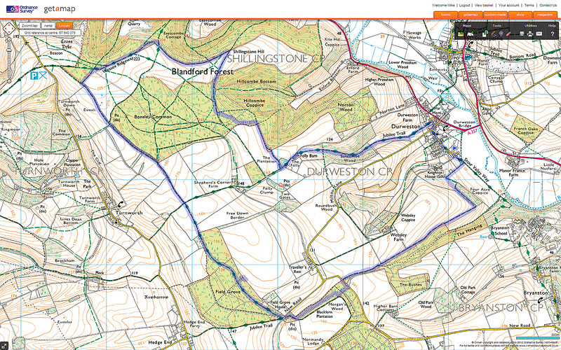 The actual route taken on an Ordnance Survey map.
