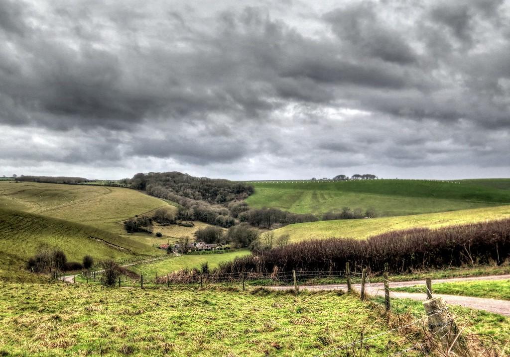 Littlebredy farm sitting down in the valley.