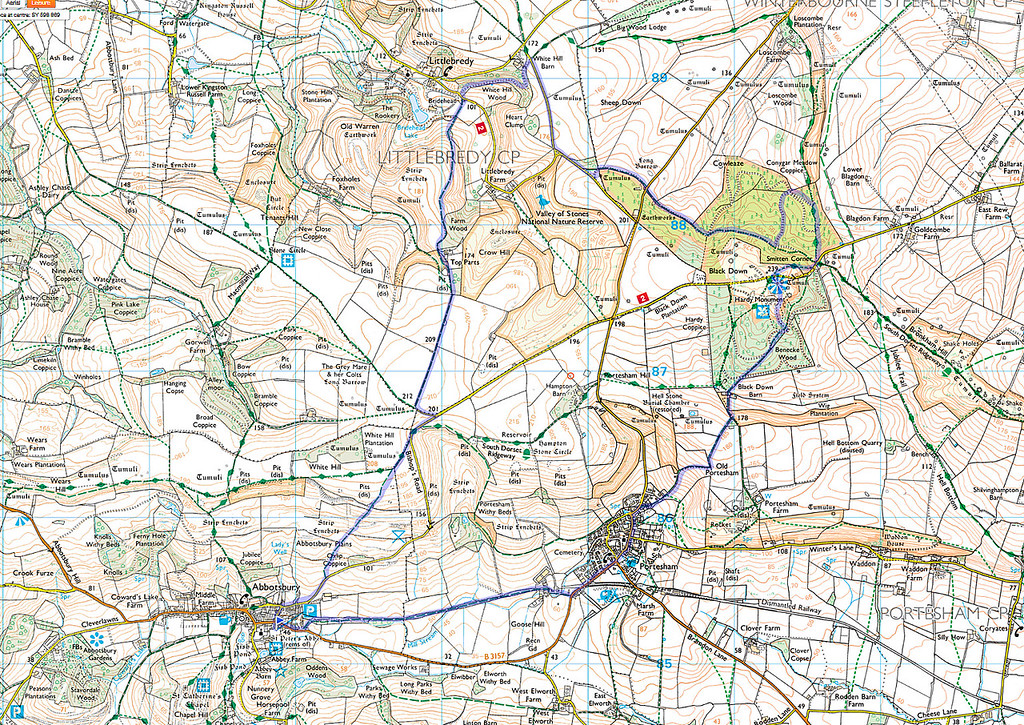 The route actually walked is shown in blue starting at the blue flag in Abbotsbury and we went anticlockwise.