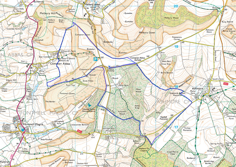 As usual the route actually followed is shown in blue, anticlockwise from the blue flag.