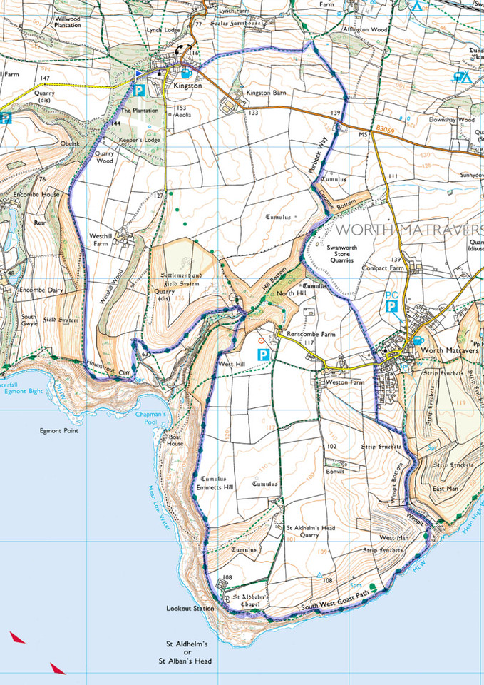 The route walked, clockwise, from the blue flag in the car park at Kingston.