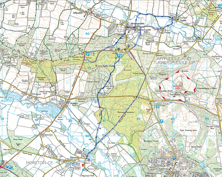 As usual the actual route walked is shown in blue starting from little blue triangular flag and we walked clockwise.