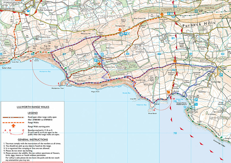 As usual the route is shown in blue and the directions were north from the marker flag, straight from Warbarrow Bay towards Kimmeridge and anticlockwise round the right hand portion.    The return to Tyneham was down the zig-zag South of the marker.