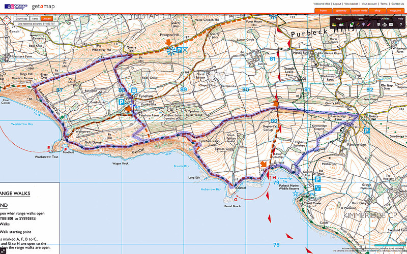 The route taken, both parts clockwise, starting at the blue marker and heading East.
