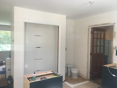 Pantry wall and current fridge alcove to remove