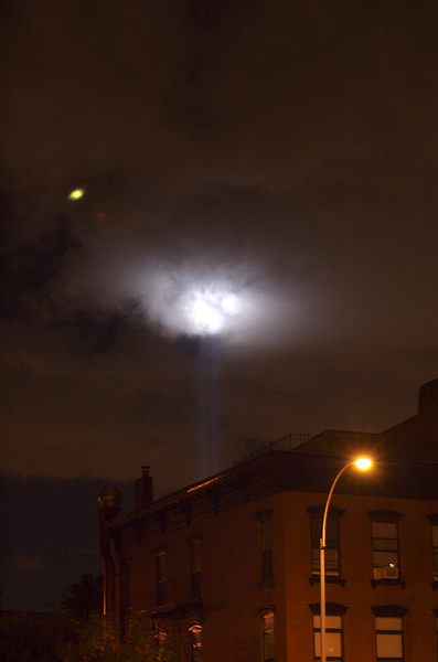 When I came out of yoga at the studio in our neighborhood in Prospect Heights, Brooklyn, this is what greeted me Monday night (9/11/06)