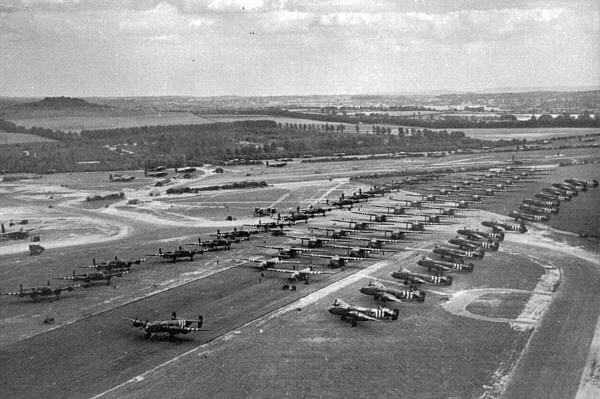 Tarrant Rushton during The Second World War<br /> <br /> Gliders and their tug aircraft line up ready to take 6th British Airborne Division to Normandy on the evening of 5 June 1944.
