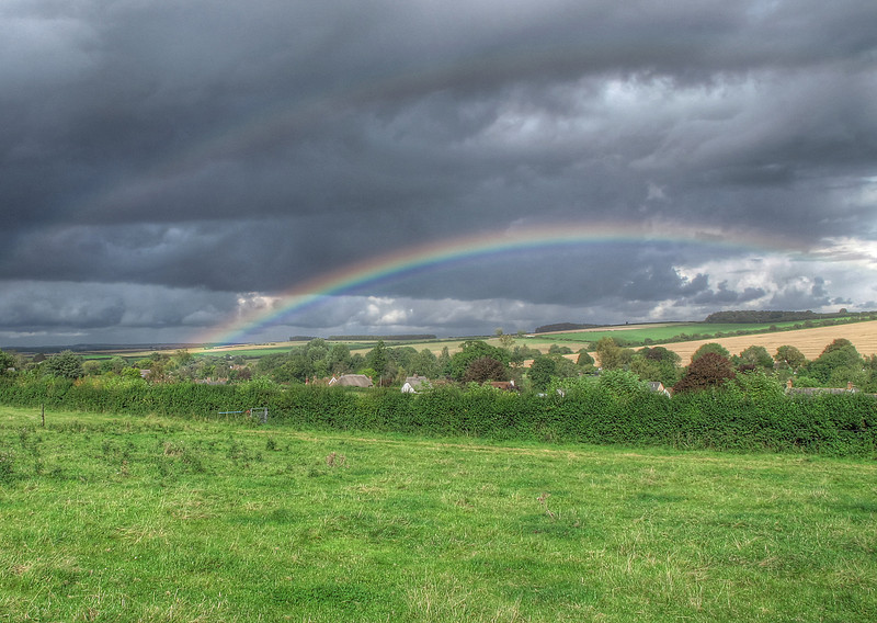 On the way back to the car a light shower caused this rainbow<br /> which led spookily to the Langton Arms pub - I had to go in to see<br /> if they had the mythical pot of gold, but I had to make do with a pot of beer!