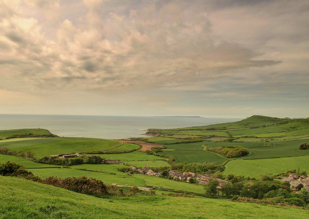 Kimmeridge village from the approach to Swyre Head