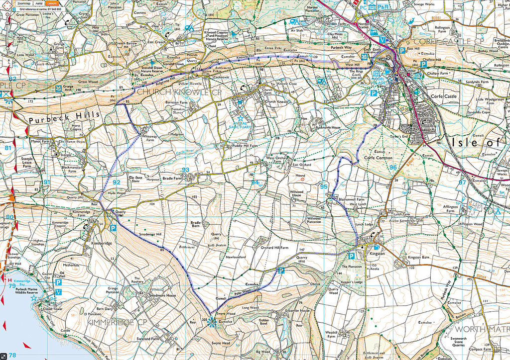 The route as walked anti-clockwise from Corfe Castle.