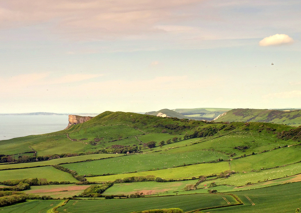 The view West along the chalk cliffs of Purbeck.