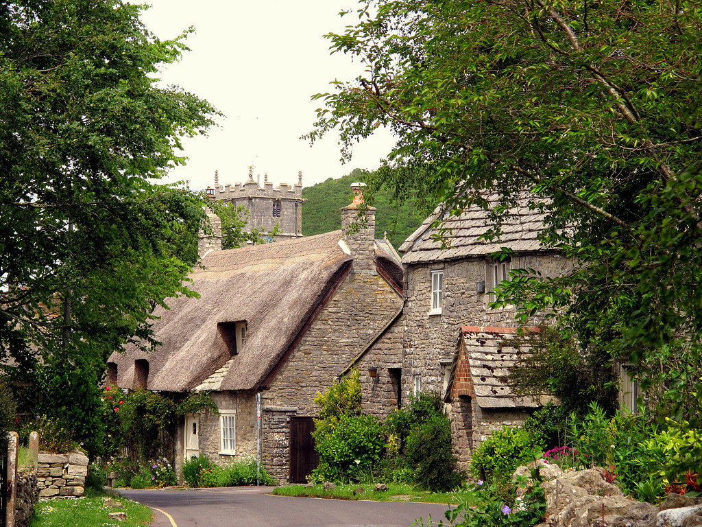 Corfe cottages and the church.