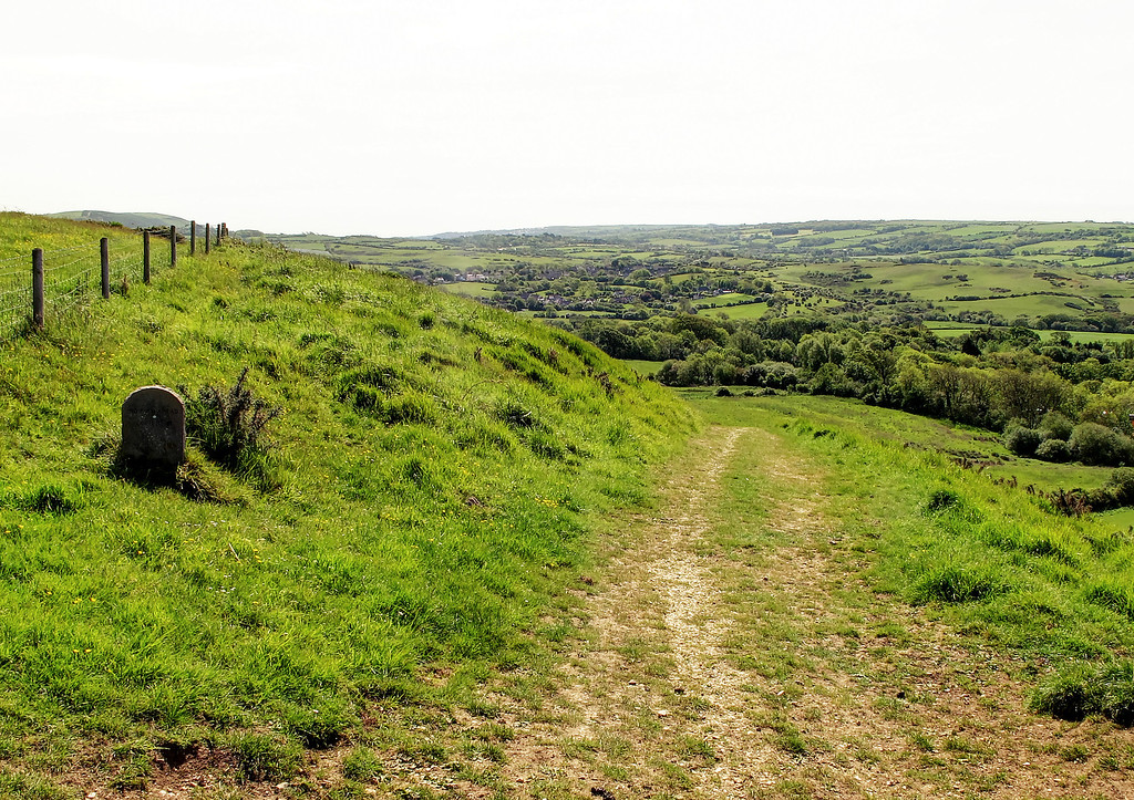 The view back towards Corfe castle village nestling in the valley.