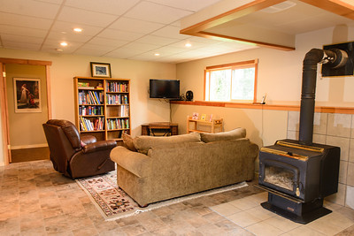 Family room in Basement. Wood stove used as primary heating source through the colder months.