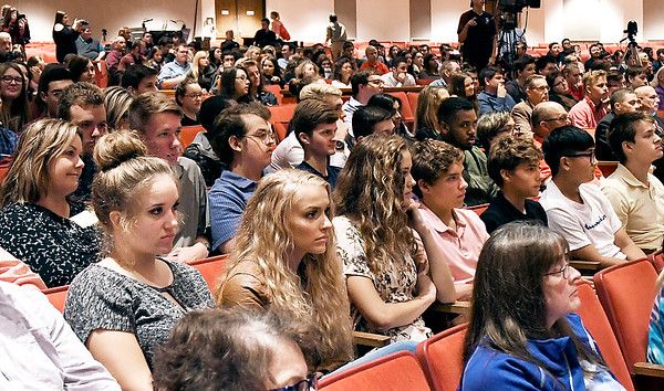 John P. Cleary | The Herald Bulletin<br /> More then 850 high school and college students attended oral arguments Wednesday in front of the The Indiana Supreme Court at Readon Auditorium.
