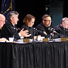 John P. Cleary | The Herald Bulletin<br /> Members of the Indiana Supreme Court ask questions as they heard oral arguments in the case of Marcus Zanders v. State of Indiana at Anderson University's Reardon Auditorium Wednesday morning.