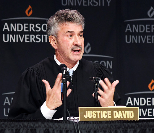 John P. Cleary | The Herald Bulletin<br /> The Indiana Supreme Court held oral arguments at Anderson University's Reardon Auditorium Wednesday. This is Justice Steven David.