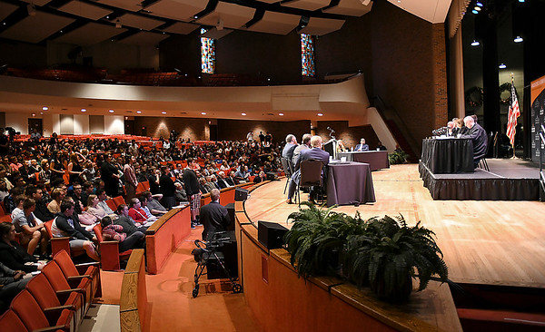 John P. Cleary   The Herald Bulletin<br /> The Indiana Supreme Court held oral arguments at Anderson University's Reardon Auditorium Wednesday.