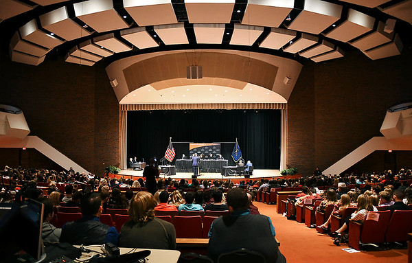 John P. Cleary | The Herald Bulletin<br /> The Indiana Supreme Court held oral arguments at Anderson University's Reardon Auditorium Wednesday.