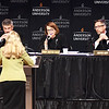 John P. Cleary | The Herald Bulletin<br /> The five Justices of the Indiana Supreme Court listen as Leanna Weissmann makes her case during oral arguments held at Anderson University's Reardon Auditorium Wednesday.