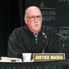 John P. Cleary | The Herald Bulletin<br /> The Indiana Supreme Court held oral arguments at Anderson University's Reardon Auditorium Wednesday. This is Justice Mark Massa.