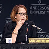 John P. Cleary | The Herald Bulletin<br /> The Indiana Supreme Court held oral arguments at Anderson University's Reardon Auditorium Wednesday. This is Chief Justice Loretta Rush.