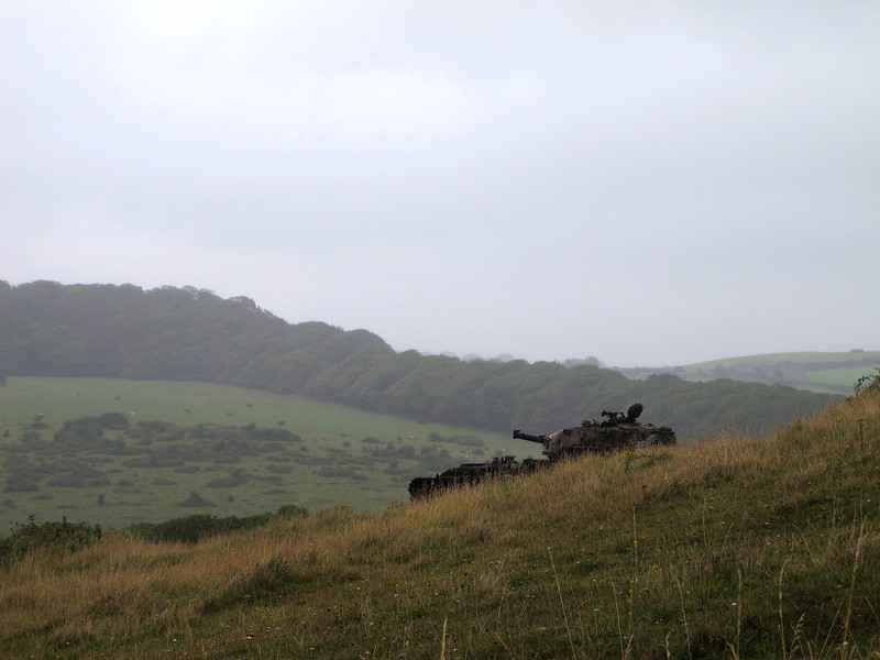 In the gloom this hull down target tank takes on a sinister appearance.