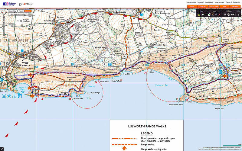 The route taken through the ranges; the right hand circle was taken clockwise and the left one was taken anticlockwise.