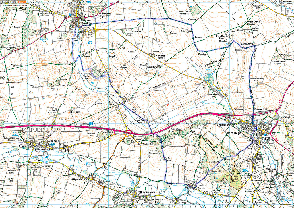 The route of this walk is shown in blue and was done anticlockwise.