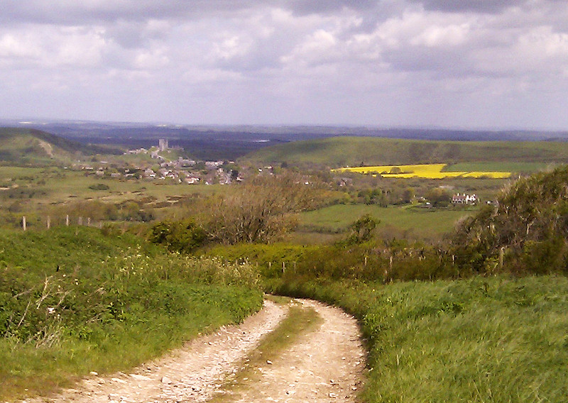 A low res picture across to Corfe Castle.
