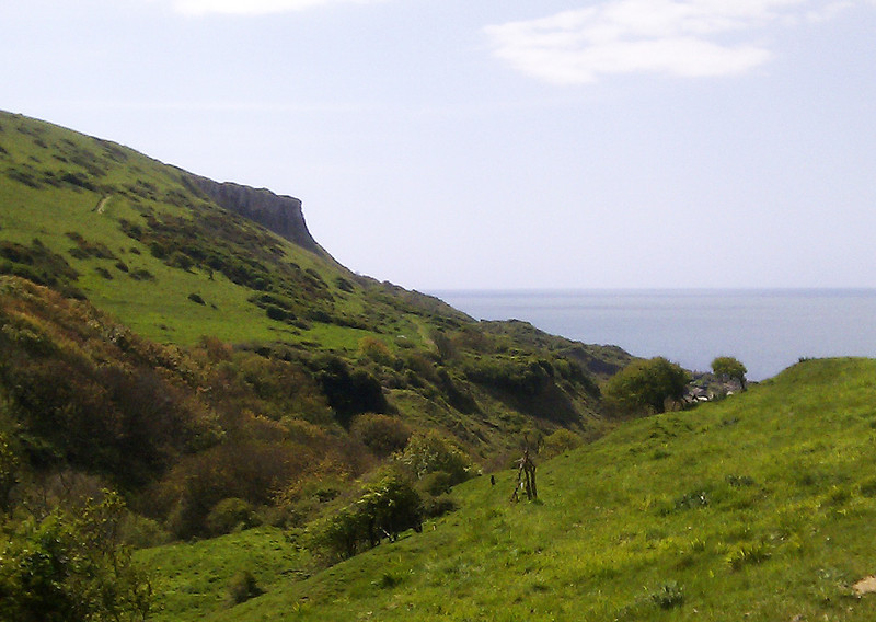 The approach to Chapman's Pool with St Aldhelm's Head looming above.