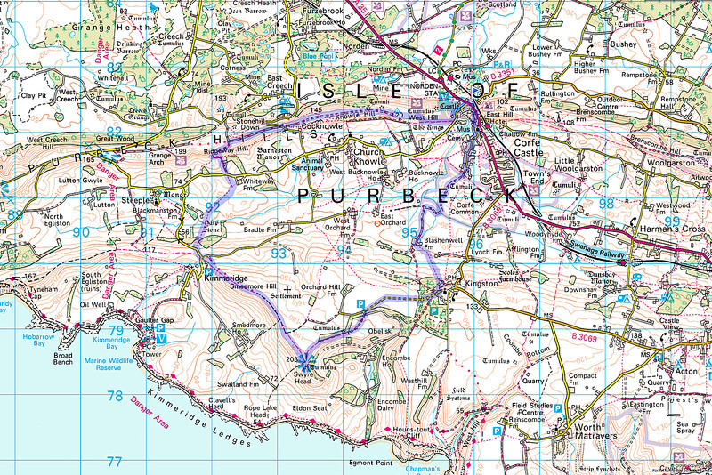 The route taken superimposed onto an Ordnance Survey Map.