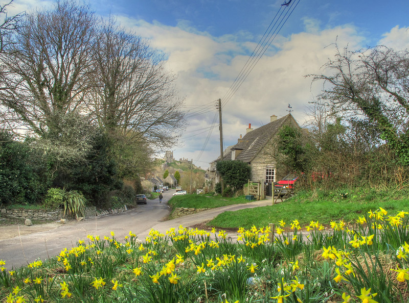 The view into Corfe village along West Street.