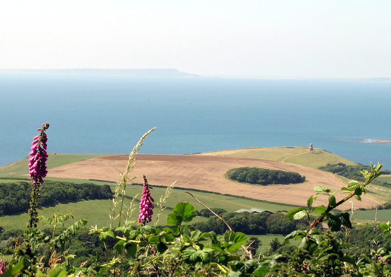 The Clavell Tower at Kimmeridge with Portland in the distance.
