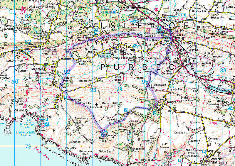 A recording of the route taken from my mobile phone - I went anticlockwise.