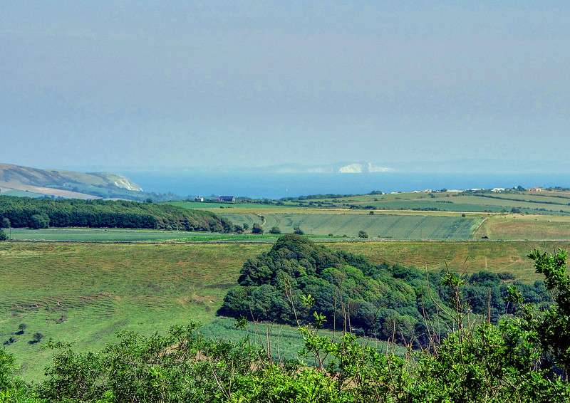 The Isle of Wight looming through the haze, from Swyre Head.