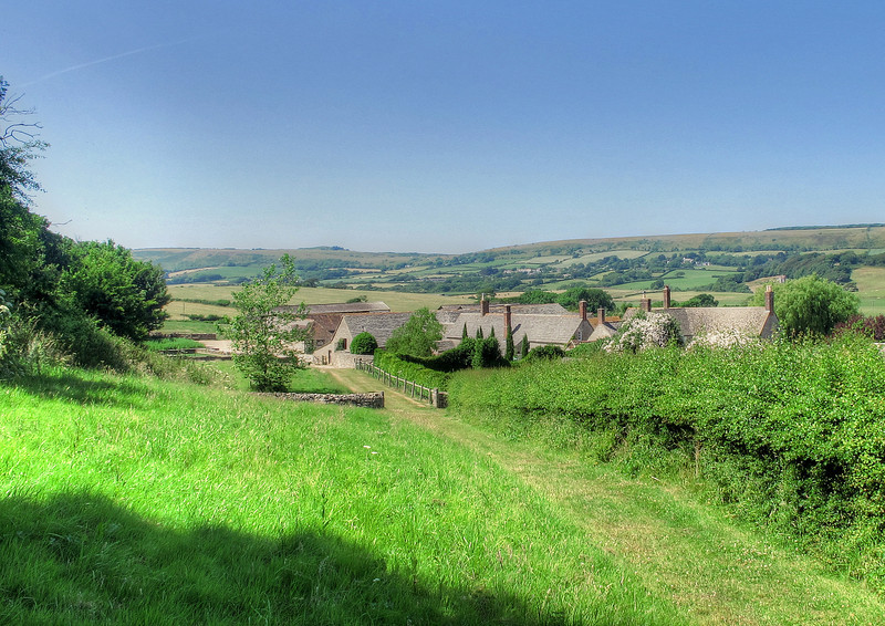 Picturesque setting for Blashenwell Farm, on the way down from Kingston to Corfe Castle.