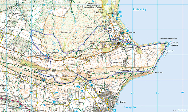 The actual route walked.  Two of the members walked a little extra after having taken a wrong turn!   The walk was done in an anticlockwise direction.