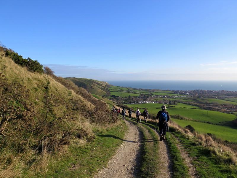 The walk down towards the gap in the ridge near Ulwell.