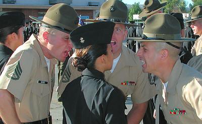 """USMC Drill Instructors """"inspecting"""" NJROTC Cadet @ Reseda Drill meet"""
