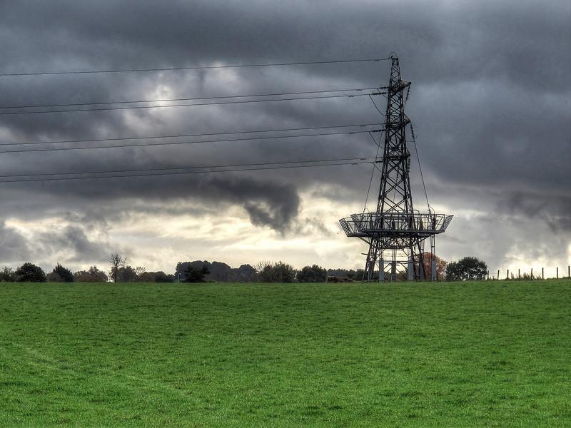 A  National Grid terminal tower near Knighton.