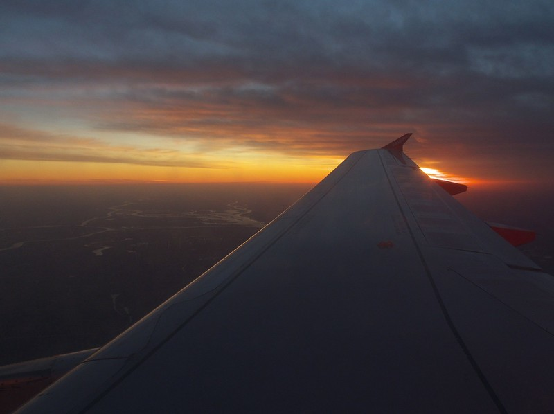 Sunrise as we flew from Basel to Amsterdam.