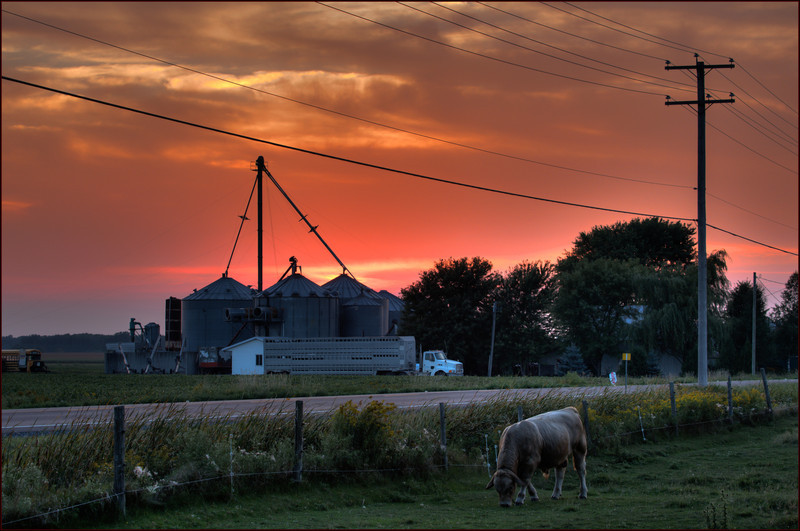 The sun sets on an August day in Quebec farmland