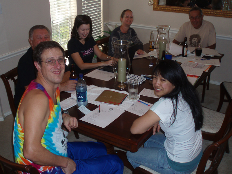 Many of the club officers meet monthly to plan the future activities at the president's house.